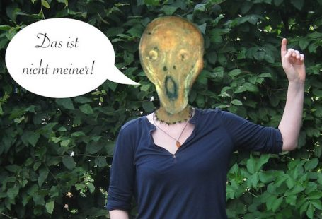 Schrei-Kopf von Edvard Munch sitzt im Albtraum auf eigenem Hals