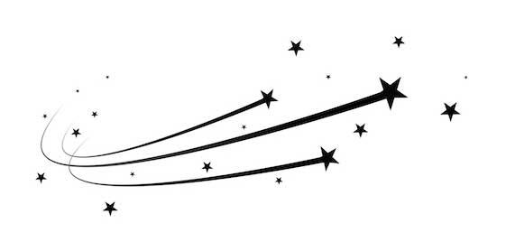 Zeichnung von drei schwarzen Sternen mit gebogener Flugbahn