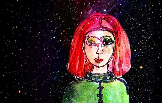 Scribble einer Frau mit roten Haaren und gruenem Anzug vor schwarzem Sternenhimmel