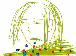 Scribble in giftgruen von müde guclender Frau mit roten und blauen Kotzebroeckchen